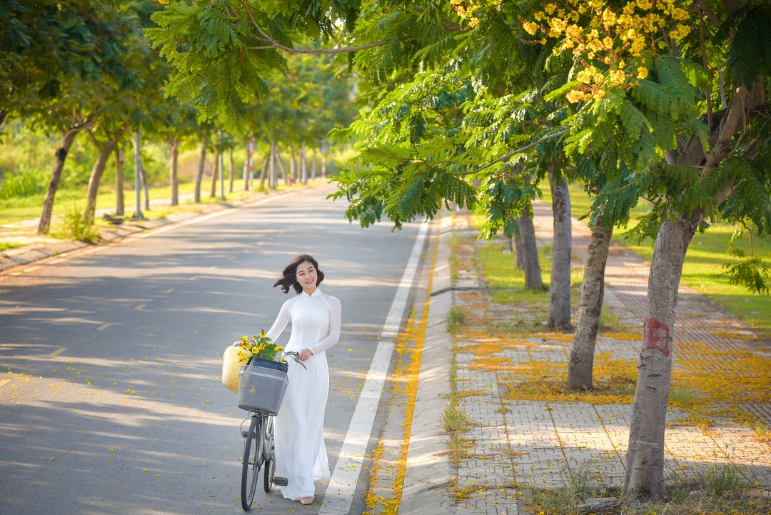 A person riding a bicycle on a road